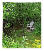 Chairs By The Creek In Summer Fleece Blanket