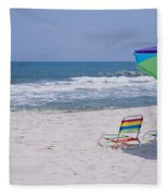 Chairs On The Beach, Gulf Of Mexico Fleece Blanket