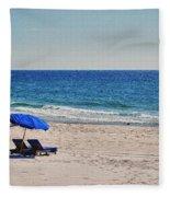Chairs On The Beach With Umbrella Fleece Blanket