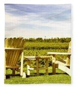Chairs Overlooking Vineyard Fleece Blanket