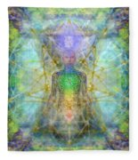 Chakra Tree Anatomy With Mercaba In Chalice Garden Fleece Blanket
