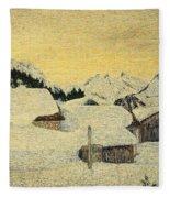 Chalets In Snow Fleece Blanket