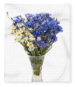 White Camomile And Blue Cornflower In Glass Vase  Fleece Blanket