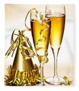 Champagne And New Years Party Decorations Fleece Blanket