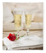 Champagne And Rose Fleece Blanket