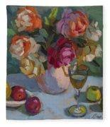 Chardonnay And Roses Fleece Blanket
