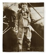 Charles A. Lindbergh And Spirit Of St. Louis May 12 1927 Fleece Blanket