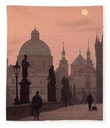 Charles Bridge At Dusk With The Church Fleece Blanket