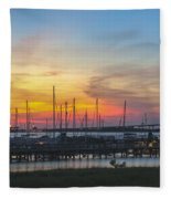 Charleston Harbor Sunset Fleece Blanket