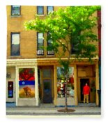 Charlevoix And Notre Dame Little Antique Shops St Henri Art Montreal Street Scene Carole Spandau Fleece Blanket