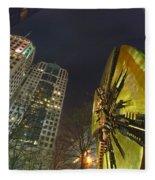 Charlotte Downtown At Night Fleece Blanket
