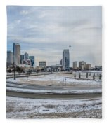Charlotte North Carolina Skyline In Winter Fleece Blanket