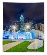 Charlotte Skyline Behind Romare Bearden Park Fleece Blanket