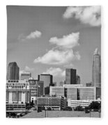 Charlotte Skyline In Black And White Fleece Blanket