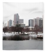 Charlotte Skyline In Snow Fleece Blanket