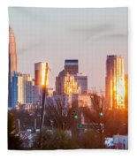 Charlotte Skyline In The Evening Before Sunset Fleece Blanket