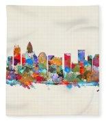 Charlotte Skyline North Carolina Fleece Blanket