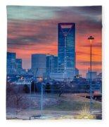 Charlotte The Queen City Skyline At Sunrise Fleece Blanket