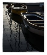 Charming Old Wooden Boats In The Harbor Fleece Blanket