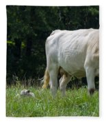 Charolais Cow And Calf In Field Fleece Blanket