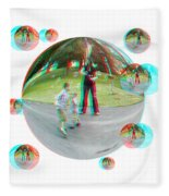 Chasing Bubbles - Red/cyan Filtered 3d Glasses Required Fleece Blanket