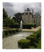 Chateau De Cheverny With Garden Fountain Fleece Blanket
