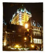 Chateau Frontenac At Night Fleece Blanket