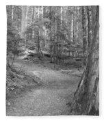 Cheakamus Trail In Black And White Fleece Blanket