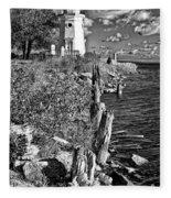 Cheboygan Lighthouse Bw Fleece Blanket