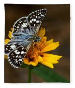 Checkered Skipper Square Fleece Blanket