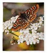Checkerspot Butterfly On A Yarrow Blossom Fleece Blanket