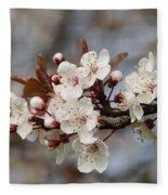 Cheerful Cherry Blossoms Fleece Blanket