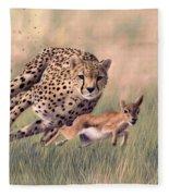 Cheetah And Gazelle Painting Fleece Blanket