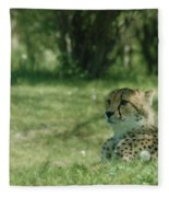 Cheetah At Attention Fleece Blanket