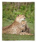 Cheetah Cub Acinonyx Jubatus Playing Fleece Blanket