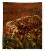 Cheetah Family After The Rains Fleece Blanket