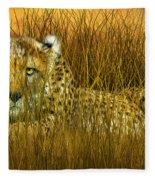 Cheetah - In The Wild Grass Fleece Blanket