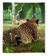 Cheetah Lunch-87 Fleece Blanket