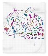 Cheetah Watercolor - White Fleece Blanket