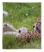 Cheetah With Cubs Fleece Blanket