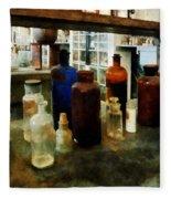Chemistry - Assorted Chemicals In Bottles Fleece Blanket