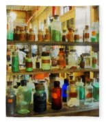 Chemistry - Bottles Of Chemicals Green And Brown Fleece Blanket