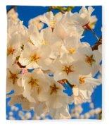 Cherry Blossom Macro Fleece Blanket