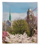 Cherry Blossoms And The Sacred Heart Fleece Blanket
