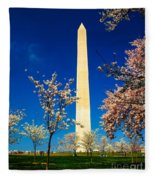 Cherry Blossoms At The Monument Fleece Blanket