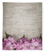 Cherry Blossoms On Linen  Fleece Blanket