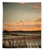 Cherry Grove Pier Myrtle Beach Sc Fleece Blanket
