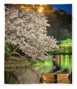 Cherry Blossom Temple Boat Fleece Blanket
