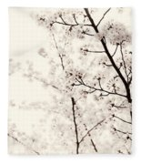 Cherry Tree Blossom Artistic Closeup Sepia Toned Fleece Blanket