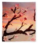 Cherry Tree Expresssive Brushstrokes Fleece Blanket